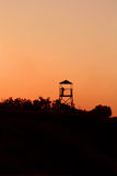 Serenity. Girl on the observation tower. Sunset Royalty Free Stock Image
