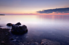 Serenity on Lake Ontario. Lake Ontario from Fort Niagara after the sunset Royalty Free Stock Photo