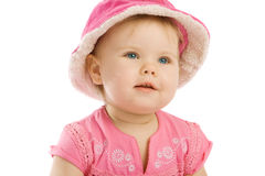 Serenity in pink hat. Isolated, over white Stock Images