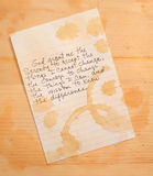Serenity prayer. Stained with coffee rings Stock Photo