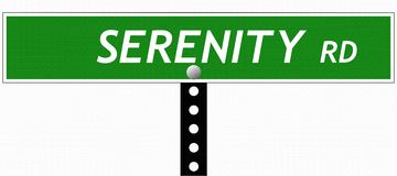 Serenity Road Sign Stock Image