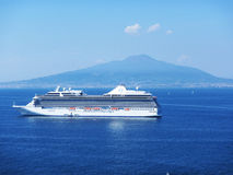Serenity in sorrento. The crystal serenity cruise ship at sorrento in italy Royalty Free Stock Image