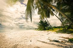 Serenity tropical beach Polariod instagram filter. Applied royalty free stock photography