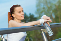 Serenity young sports woman hear music Royalty Free Stock Photos