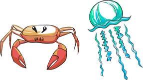 Seres del mar - cangrejo y medusa libre illustration
