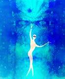 Seres espirituales en el universo y la puerta antigua en fondo Efecto de la pintura y del gráfico Imagen de archivo libre de regalías