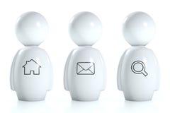 seres humanos 3d brancos com símbolos da correia fotorreceptora Fotos de Stock