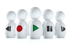 seres humanos 3d com símbolos estereofónicos Imagens de Stock