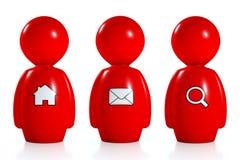seres humanos 3d vermelhos com símbolos do Web Fotos de Stock Royalty Free