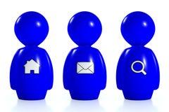 seres humanos azules 3d con símbolos de la tela Foto de archivo libre de regalías