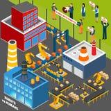 Seres humanos contra industria de la automatización ilustración del vector