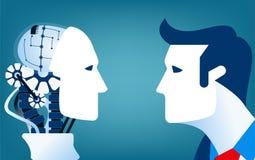 Seres humanos contra robôs Ilustração do negócio do conceito imagem de stock