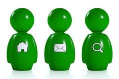 seres humanos verdes 3d con símbolos del Web Imágenes de archivo libres de regalías