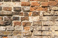 Serf brick wall. Ancient serf brick wall for the textured backgrounds Royalty Free Stock Photos