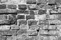 Serf brick wall of black color. Ancient serf brick wall of black color for the textured backgrounds Stock Photos