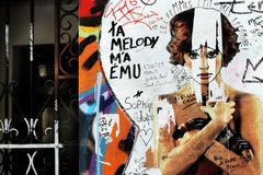 Serge gainsbourg house rue de verneuil Paris graffiti royalty free stock photo