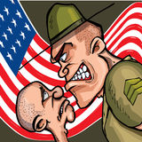 сердитый sergeant сверла шаржа Стоковая Фотография RF