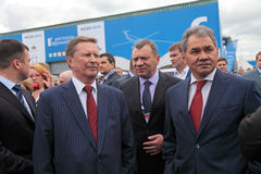 Sergei Ivanov, Yuri Borisov et Sergey Shoygu images stock