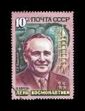 Sergei Korolev, scienziato del razzo, astronave di Vostok, circa 1986 Fotografia Stock Libera da Diritti