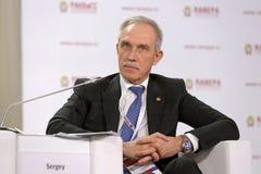 Sergei Morozov. MOSCOW, RUSSIA - JAN 12, 2017: Sergei Ivanovich Morozov - Russian statesman, governor of Ulyanovsk Oblast at the Gaidar Forum 2017 Royalty Free Stock Images