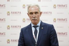 Sergei Morozov. MOSCOW, RUSSIA - JAN 17, 2018: Sergei Ivanovich Morozov - Russian statesman, governor of Ulyanovsk Oblast at the Gaidar Forum 2018 royalty free stock image