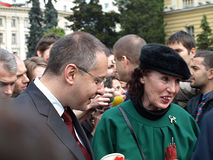 Sergei Stanishev among civilians. The Bulgarian prime minister Sergei Stanishev talking with civilians. This image is taken during the international military Royalty Free Stock Images