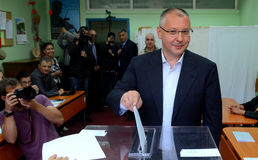 Sergei Stanishev, leader of the Bulgarian Socialist Party and president of the Party of the European Socialists. Casts his vote during the European Parliament Stock Images
