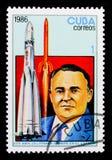 Sergej P Koroljov, 25to Anniv del primer hombre en serie del espacio, circa 1986 Fotografía de archivo