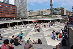 Sergel Square. One June day in Stockholm royalty free stock image
