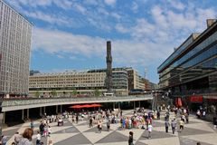 Sergel Square. One June day in Stockholm royalty free stock photography