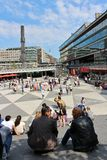 Sergel Square. One June day in Stockholm stock photography