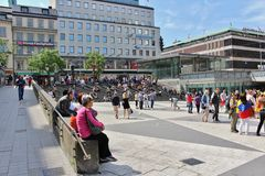 Sergel Square. One June day in Stockholm royalty free stock photos