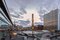 Sergel Square, Stockholm City, during sunset. Stock Photos