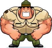 Sergent instructeur de sourire de bande dessinée illustration stock