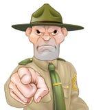Sergente istruttore Pointing Fotografia Stock