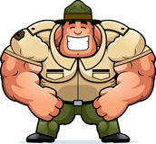 Sergente istruttore sorridente del fumetto illustrazione di stock