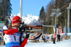 Sergey Balandin competes in IBU Regional Cup. OCHI, RUSSIA - FEBRUARY 9: Sergey Balandin competes in IBU Regional Cup in Sochi on February 9, 2013. The combined royalty free stock image