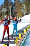 Sergey Bocharnykov en Dmitry Pidgruchny op een vurenlijn Royalty-vrije Stock Fotografie