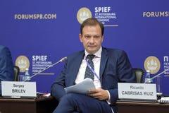 Sergey Brilev. SAINT-PETERSBURG, RUSSIA - JUN 17, 2016: St. Petersburg International Economic Forum SPIEF-2016. Sergey Brilev - Russian TV anchor, journalist Royalty Free Stock Image