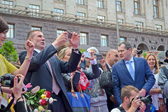 Sergey Bubka on celebration of 100th anniversary of 1st Russian Olympiad, Kiev, Royalty Free Stock Photos