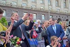 Sergey Bubka på beröm av den 100. årsdagen av den 1st ryska olympiaden, Kiev, Royaltyfria Foton