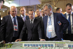 Sergey Chemezov, Dmitry Medvedev and  Dmitry Shuga Stock Image