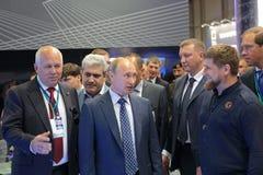 Sergey Chemezov, Vladimir Putin and Ramzan Kadyrov Stock Photography