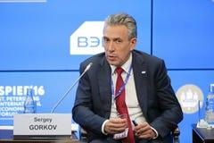 Sergey Gorkov. SAINT-PETERSBURG, RUSSIA - JUN 17, 2016: St. Petersburg International Economic Forum SPIEF-2016. Sergey Gorkov, Chairman, Bank for Development and Stock Photos