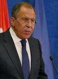 Sergey Lavrov på presskonferensen på det 35th BSEC-mötet Royaltyfria Bilder