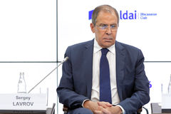 Sergey Lavrov. SAINT-PETERSBURG, RUSSIA - JUN 16, 2016: St. Petersburg International Economic Forum SPIEF-2016. Sergey Viktorovich Lavrov is a Russian diplomat Royalty Free Stock Photos