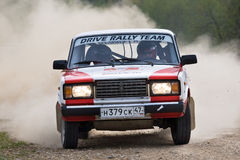 Sergey Petrov on Lada at Russian rally Stock Photography