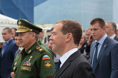 Sergey Shoygu and Dmitry Medvedev. KUBINKA, MOSCOW OBLAST, RUSSIA - JUN 16, 2015: The Minister of Defense Sergey Shoygu and Prime Minister of Russia Dmitry Stock Images