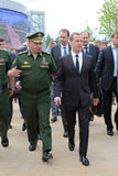 Sergey Shoygu and Dmitry Medvedev. KUBINKA, MOSCOW OBLAST, RUSSIA - JUN 19, 2015: The Minister of Defense Sergey Shoygu and Prime Minister of Russia Dmitry Stock Photo