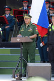 Sergey Shoygu. TRAINING GROUND ALABINO, MOSCOW REGION, RUSSIA - JUL 30, 2016: Sergey Kuzhugetovich Shoygu - Minister of Defence of the Russian Federation at the Stock Image